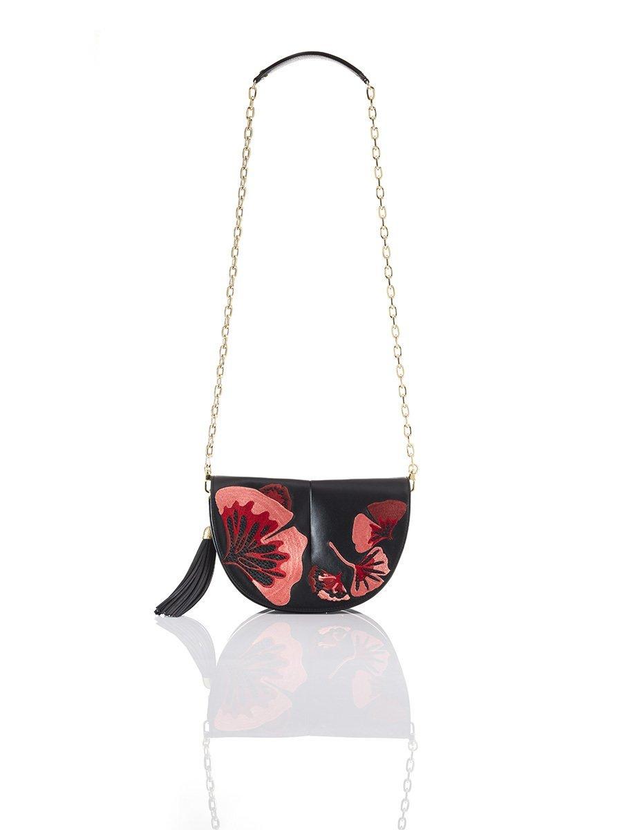 Ginkgo Naadam Embroidery Leather Crossbody Bag