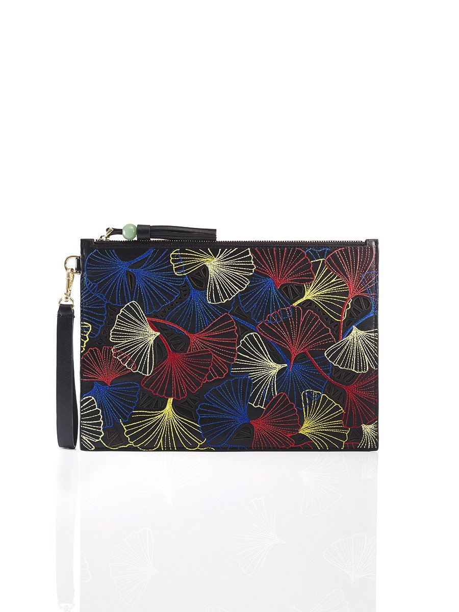 Ginkgo Embroidery Wristlet Leather Pouch