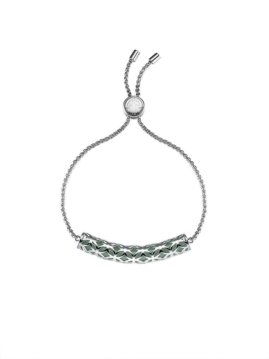 Coin Flower Gemstone Bar Bracelet