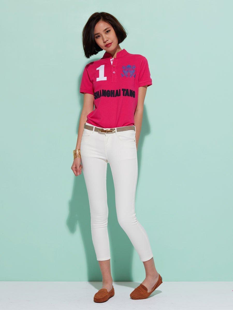 Cotton 'Double Fish' 1 Appliqué Short Sleeve Pique Polo Shirt