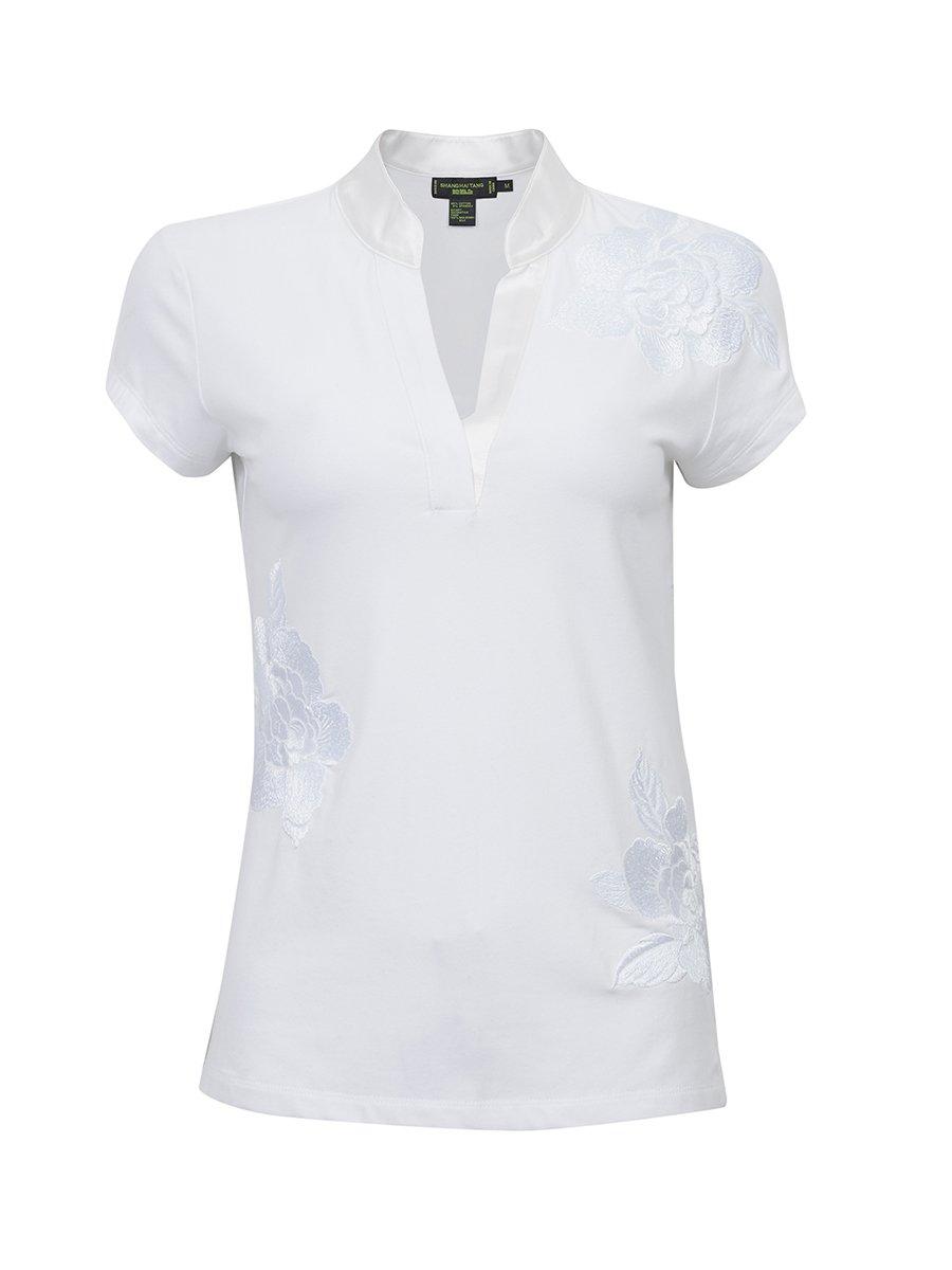Cotton Spandex Silk Trim Floral Top