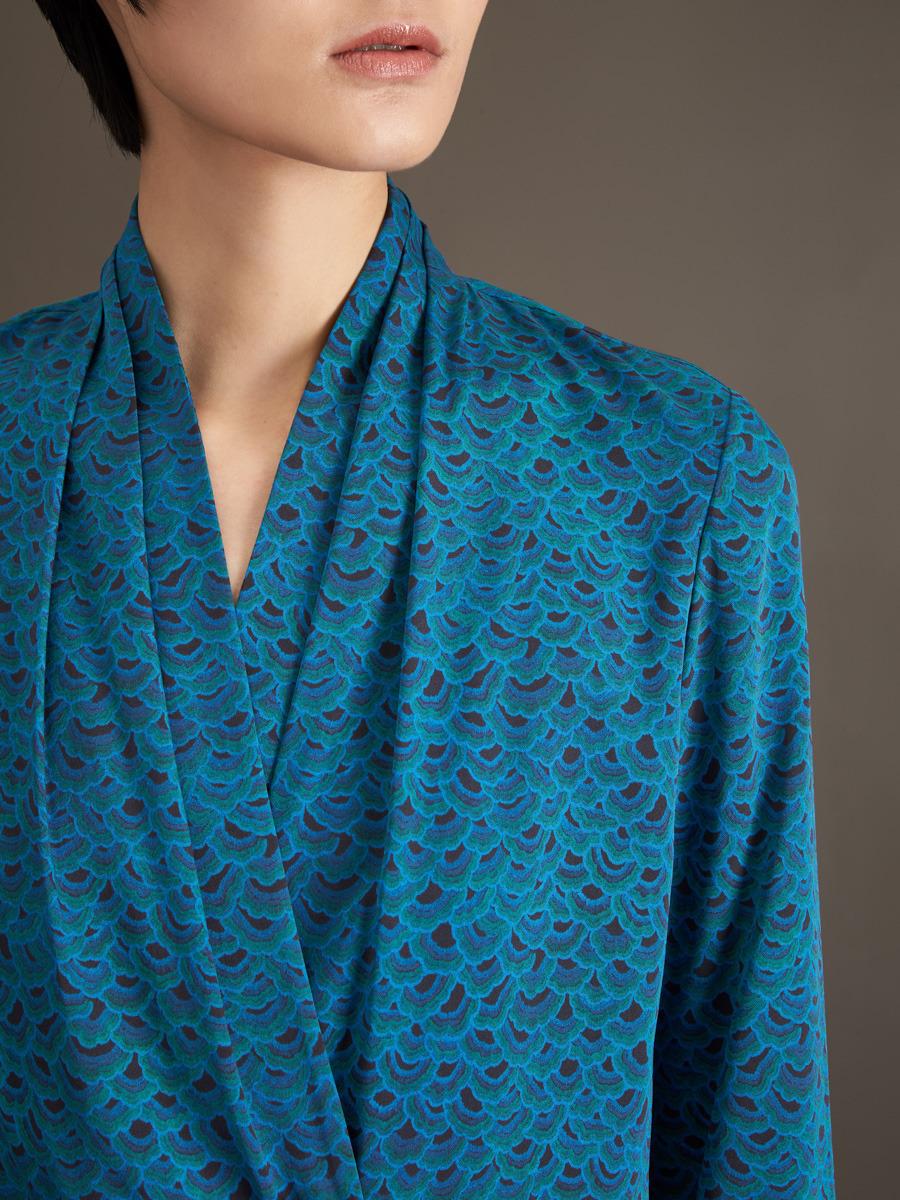 Phoenix Print Silk Blend Wrap Blouse