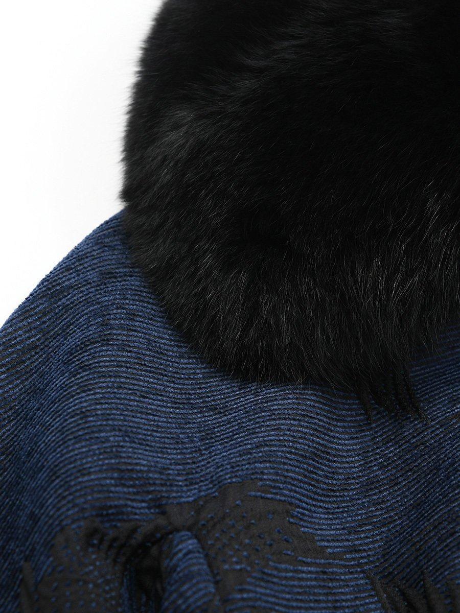 Crane Jacquard Coat with Fur Collar