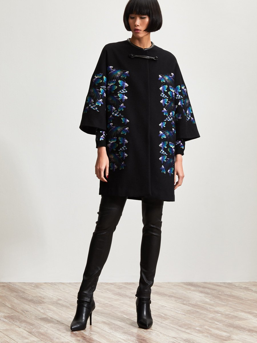 Wool Cashmere Coat with Print Embroidery