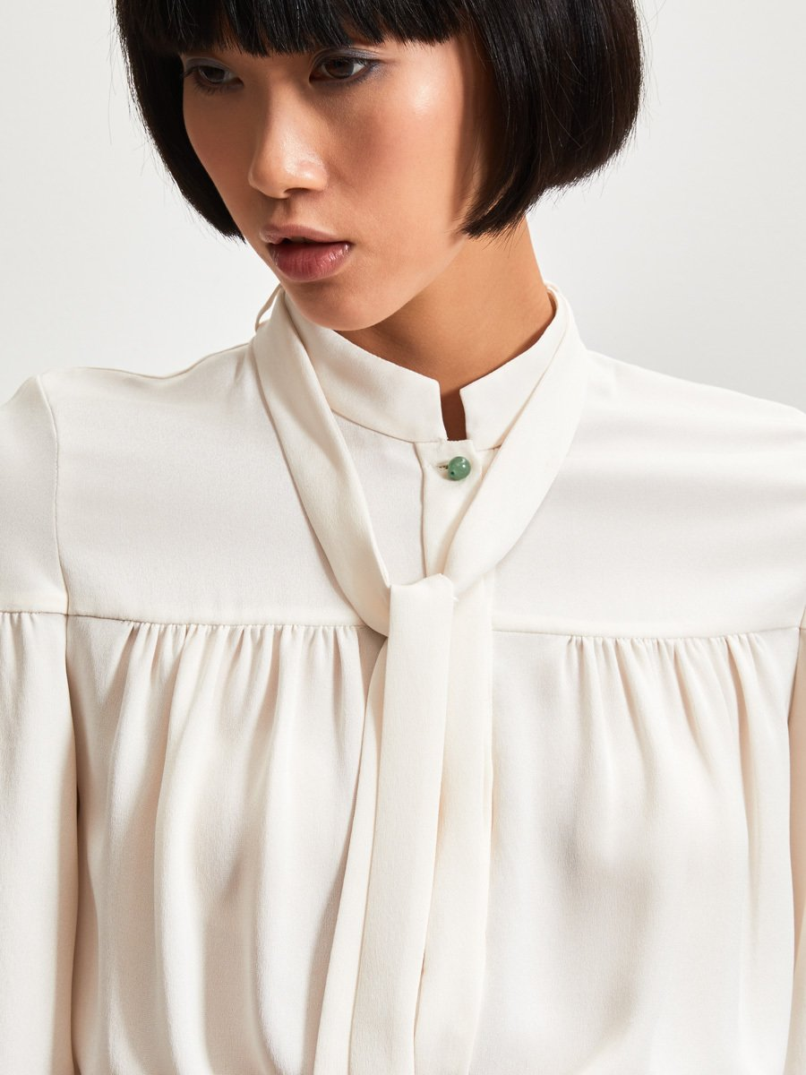 Silk Blouse with Tie