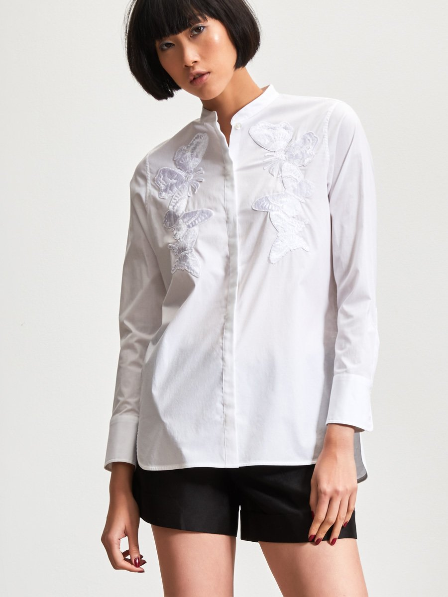 Cotton Shirt with Butterfly Embroidery