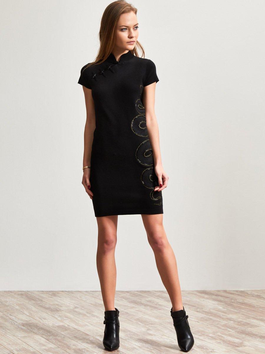 Wool Snake Embellishment Dress
