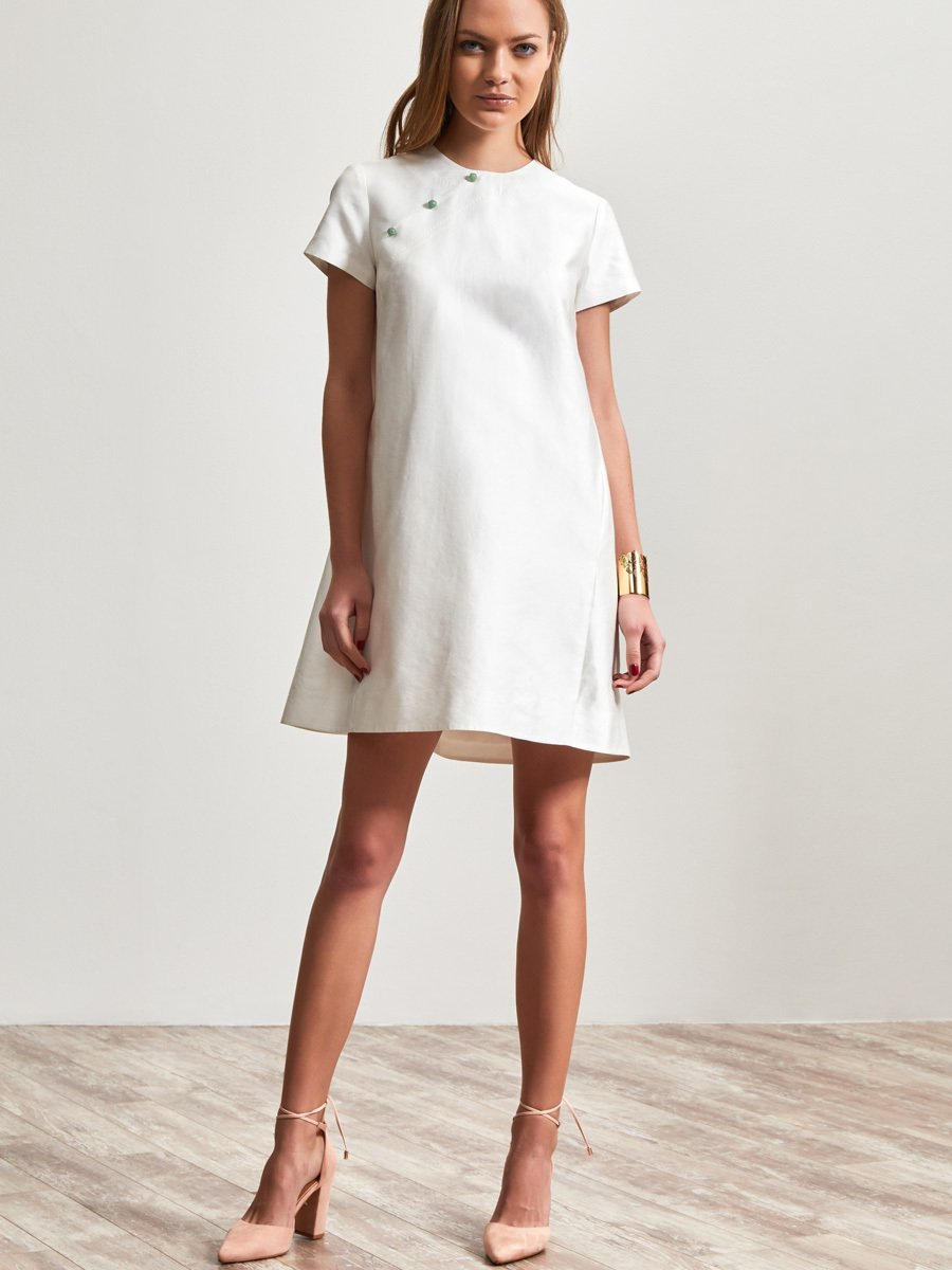 Silk Cotton Short Sleeve Dress