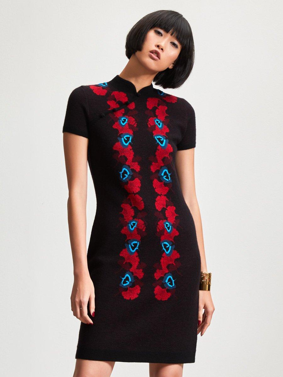 Cashmere Ginkgo Jacquard Hand Embroidery Dress