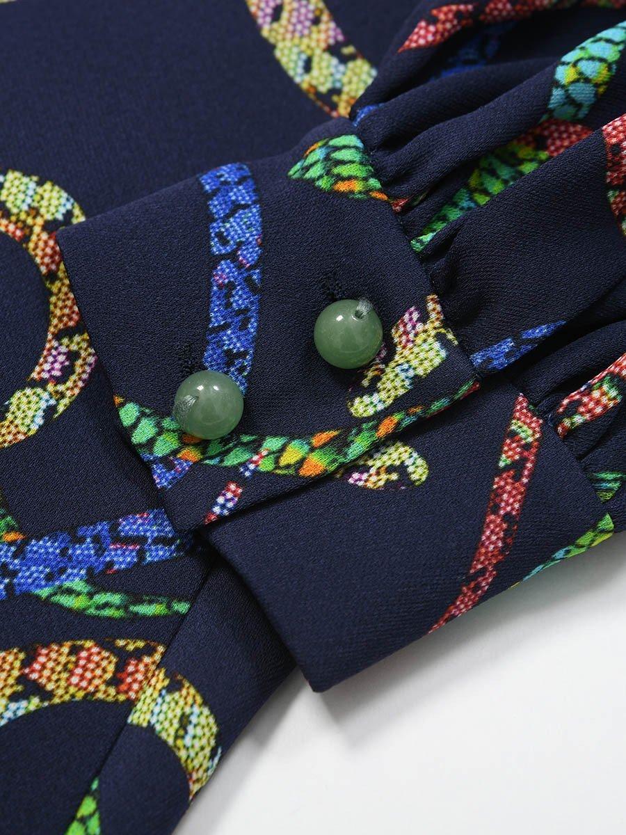 Silk Snake Print Dress