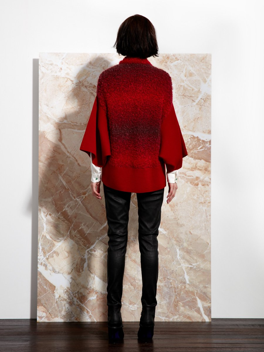 Wool and Boucle Batwing Cardigan