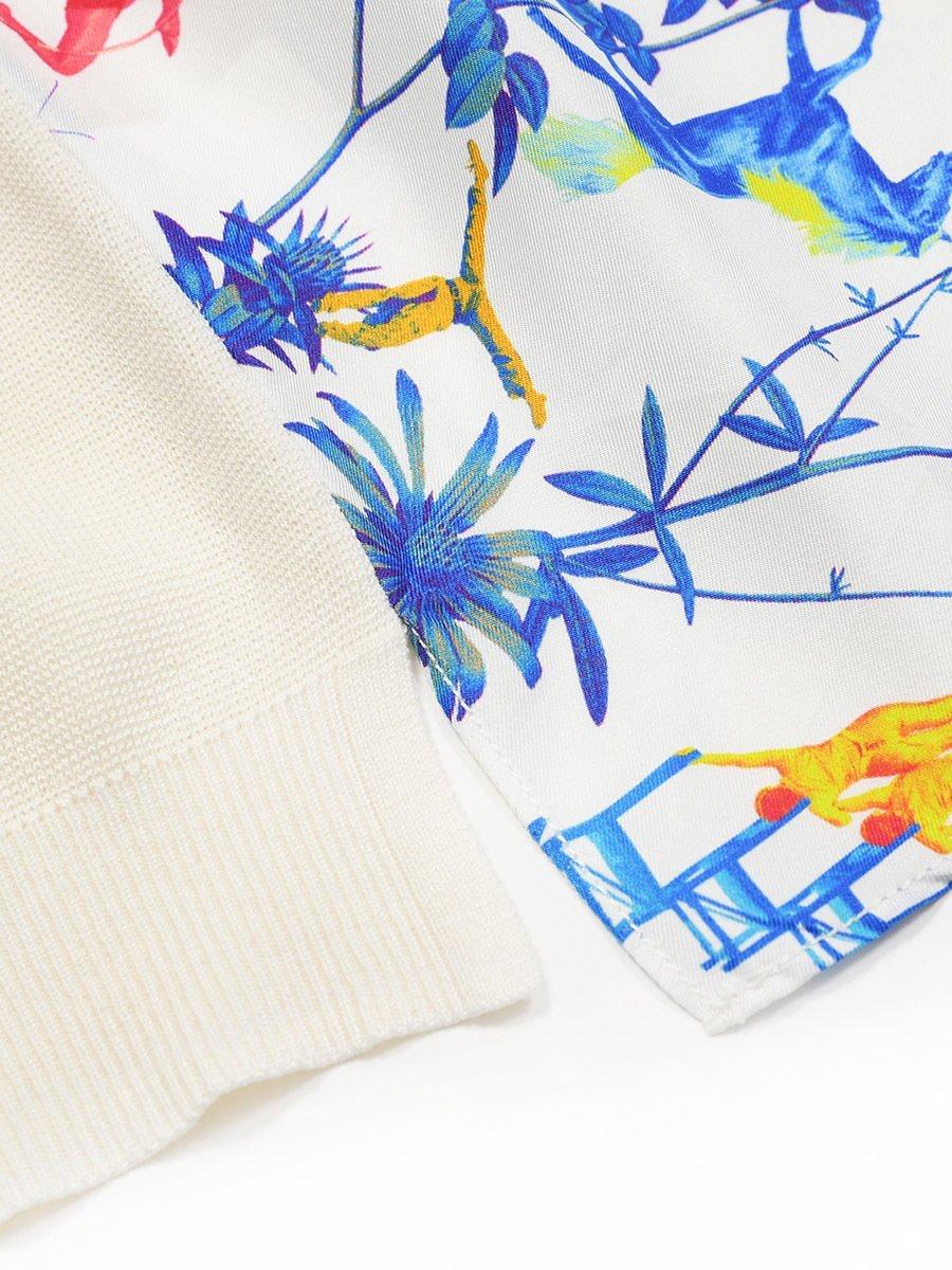 Silk-Cotton Woven Back Long Sleeve Cardigan