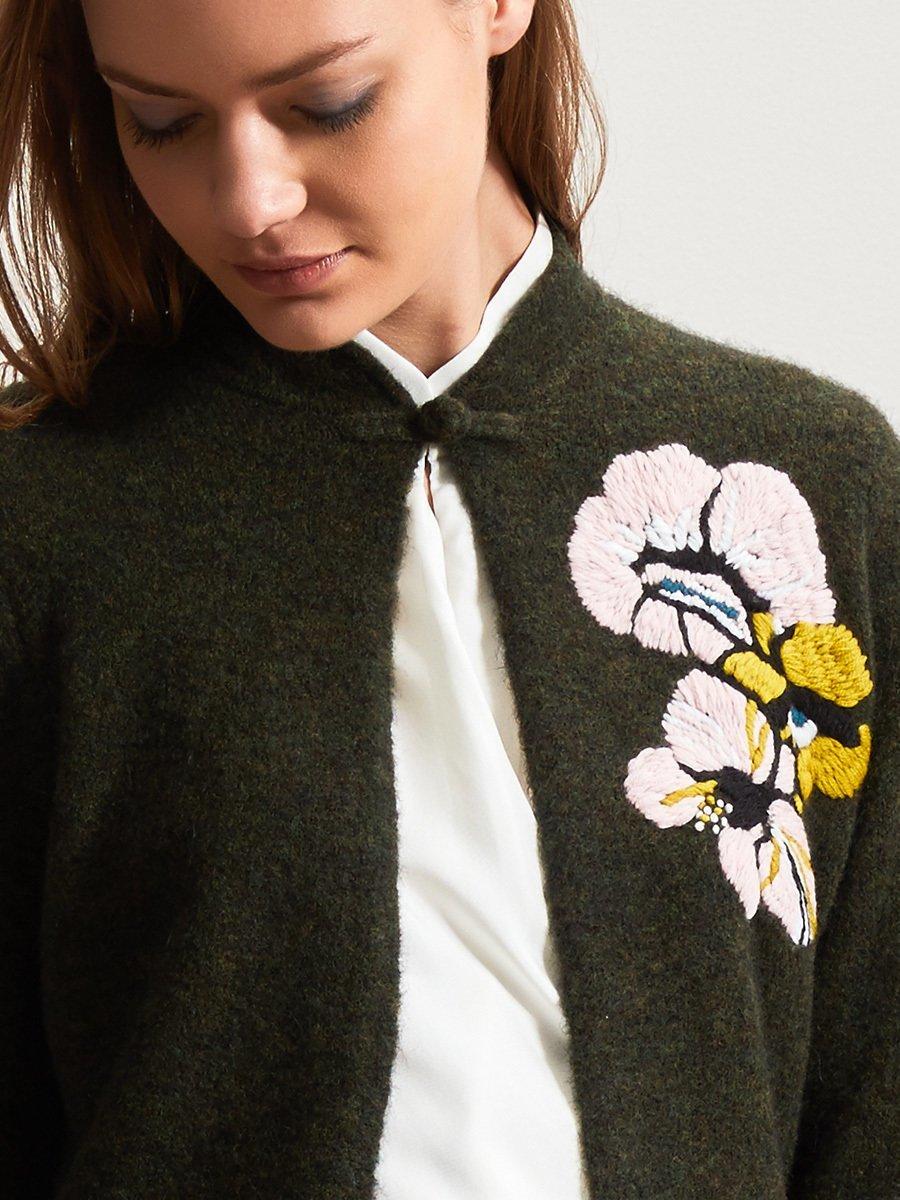 Alpaca-Wool Floral Hand Embroidery Cardigan
