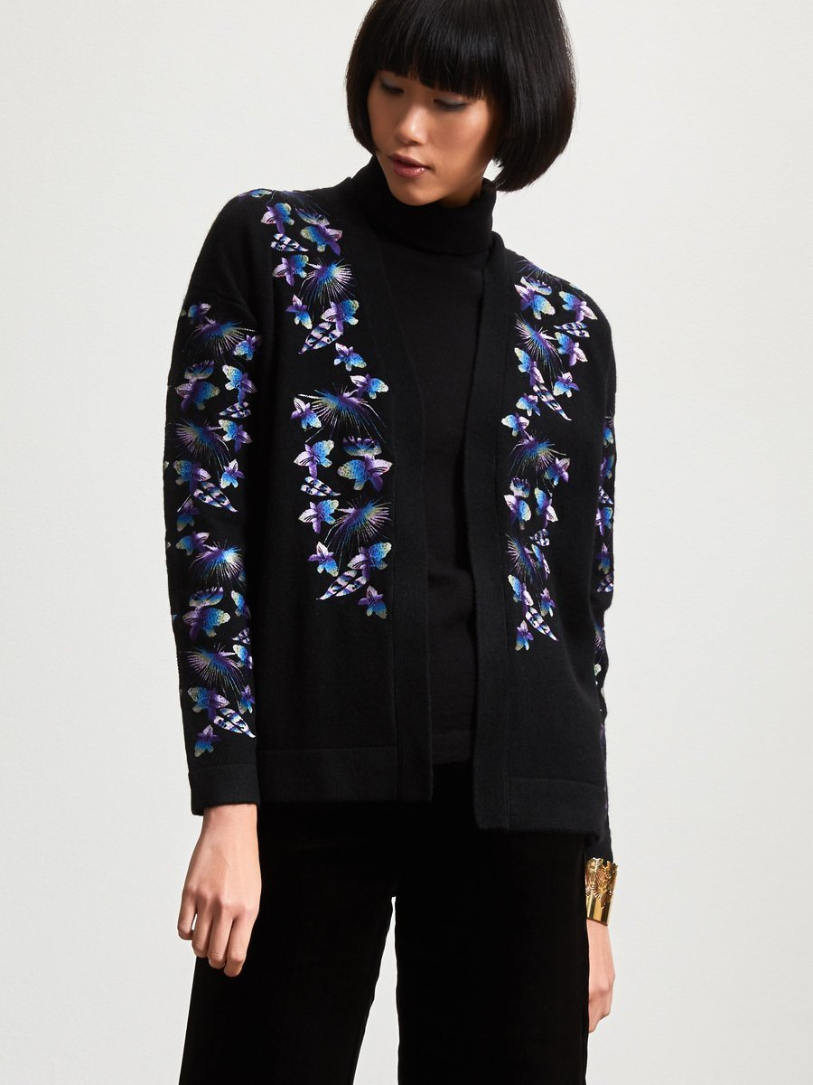 Wool Orchid Embroidery Cardigan