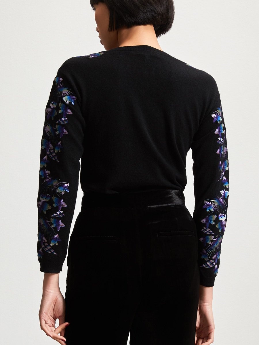Wool Space Dye Embroidery Sweater