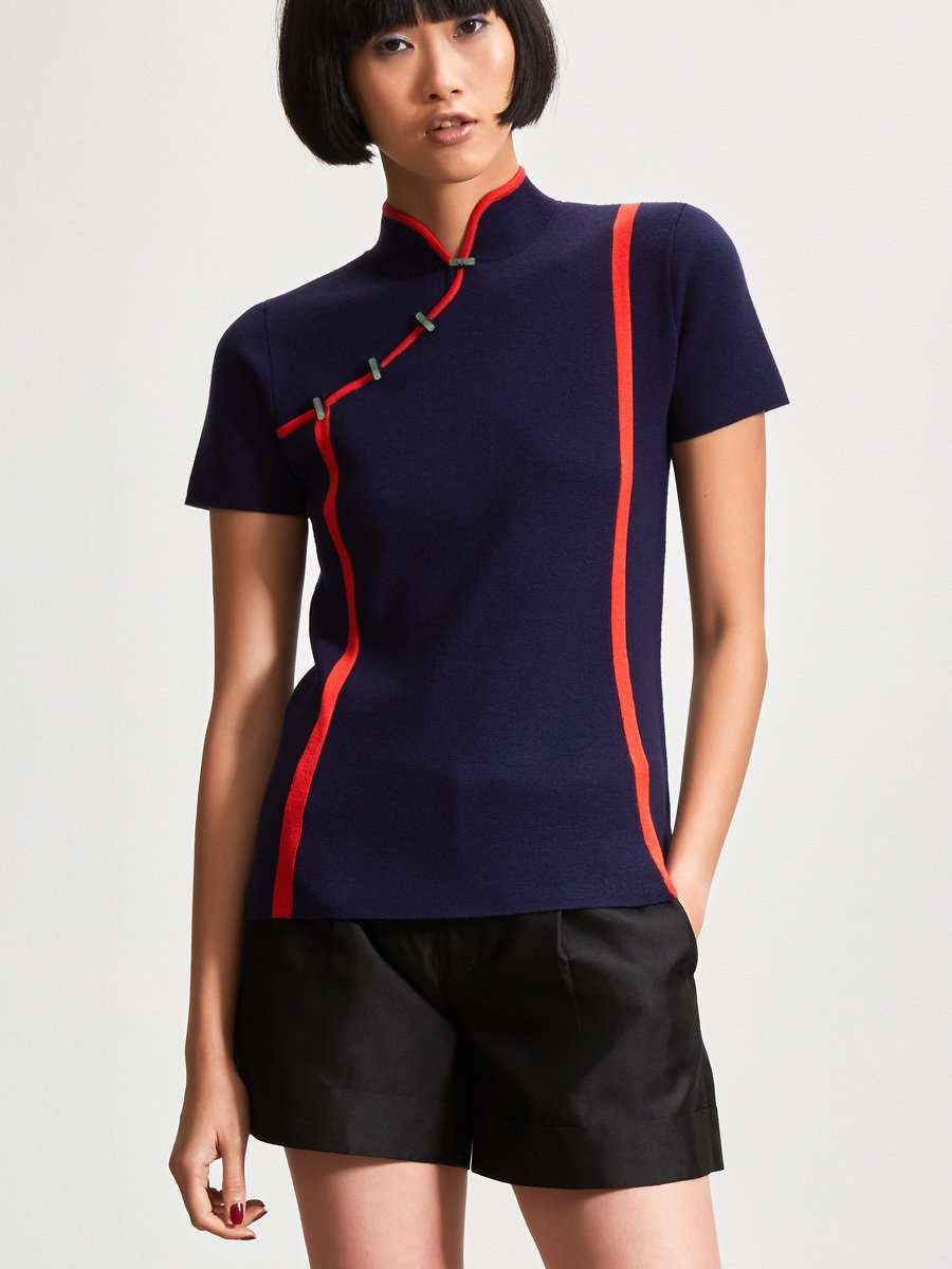 Wool Contrast Strap Short Sleeve Qipao Top