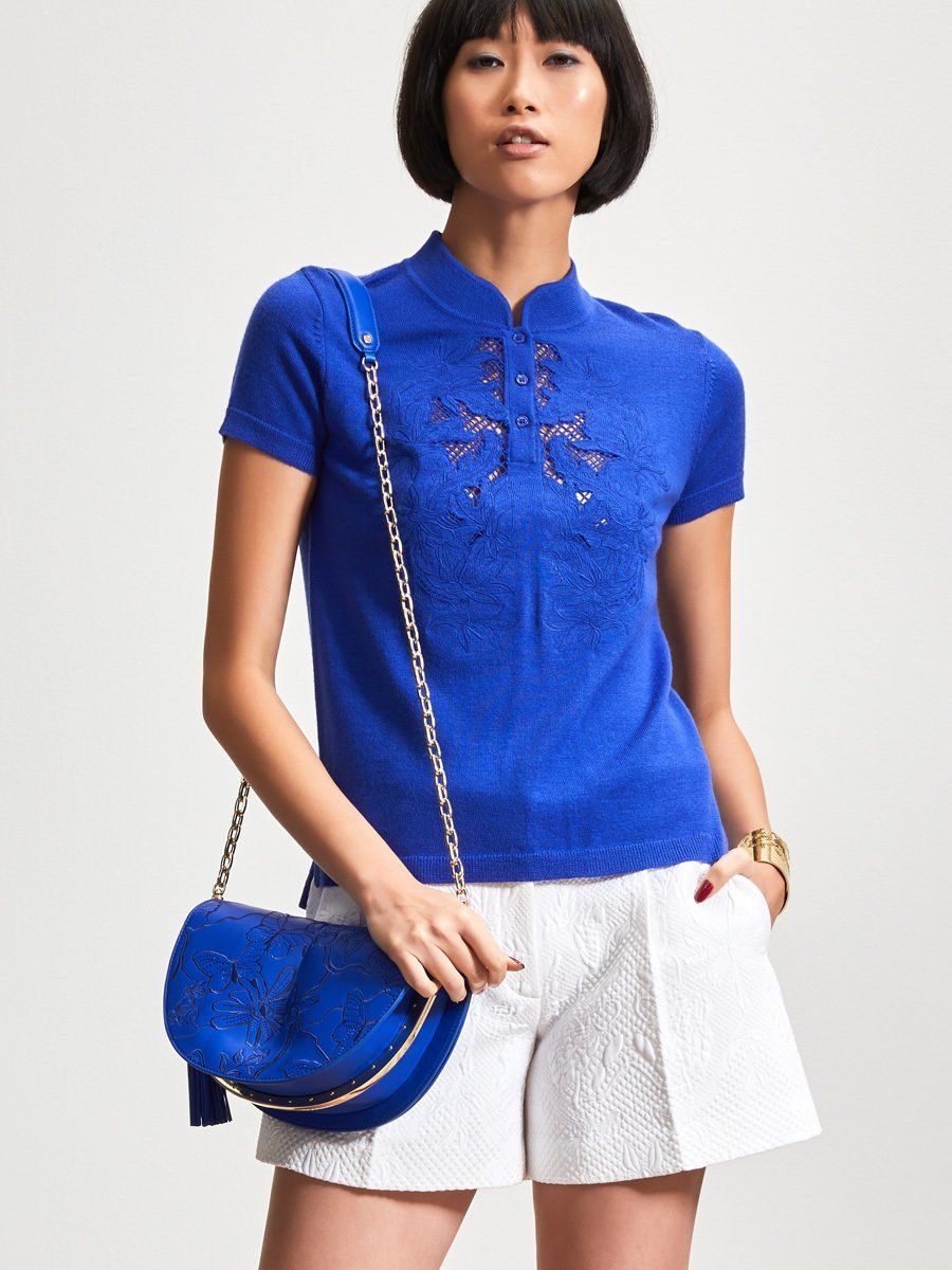 Wool Floral Embroidery Cutout Short Sleeve Top