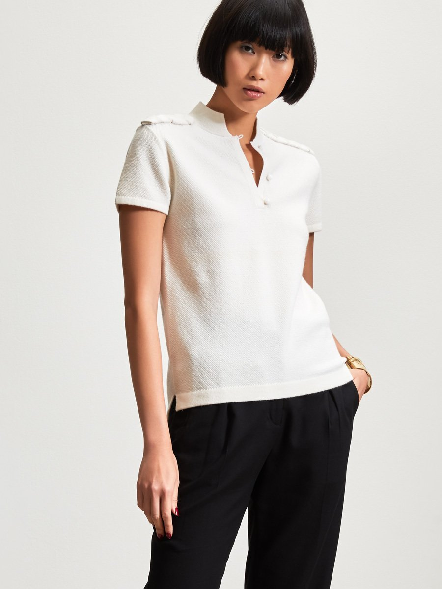 Wool-Cashmere Plaited Short Sleeve Top