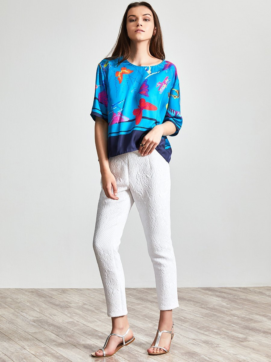Butterfly Quilted Jacquard Pants