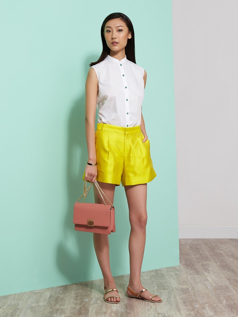 Silk-Cotton Shorts With Cuff
