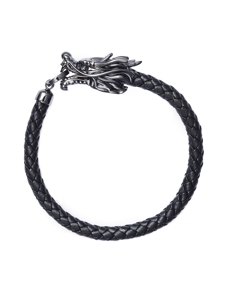 Dragon 925 Silver Leather Bracelet