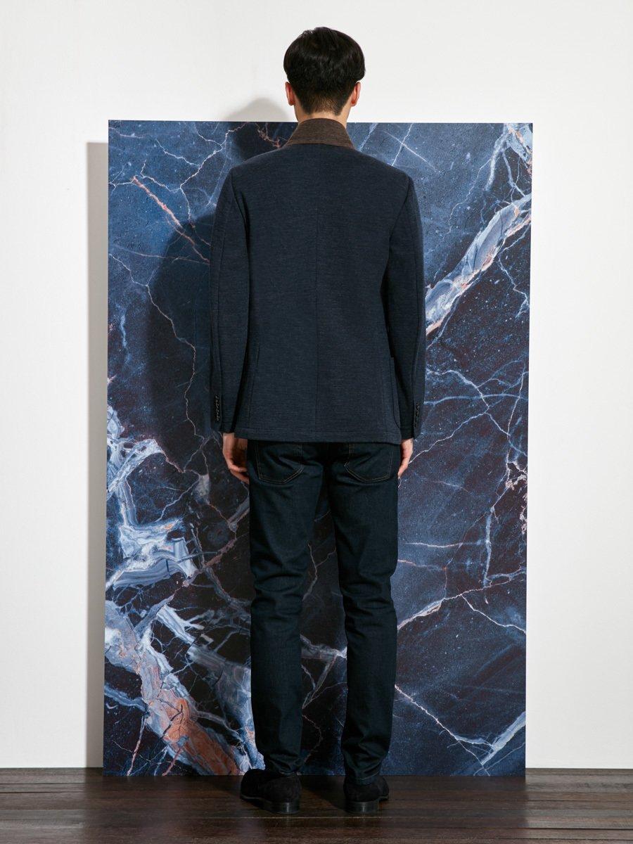 Wool Polyamide Contrast Collar Jersey Blazer (Slim Fit)
