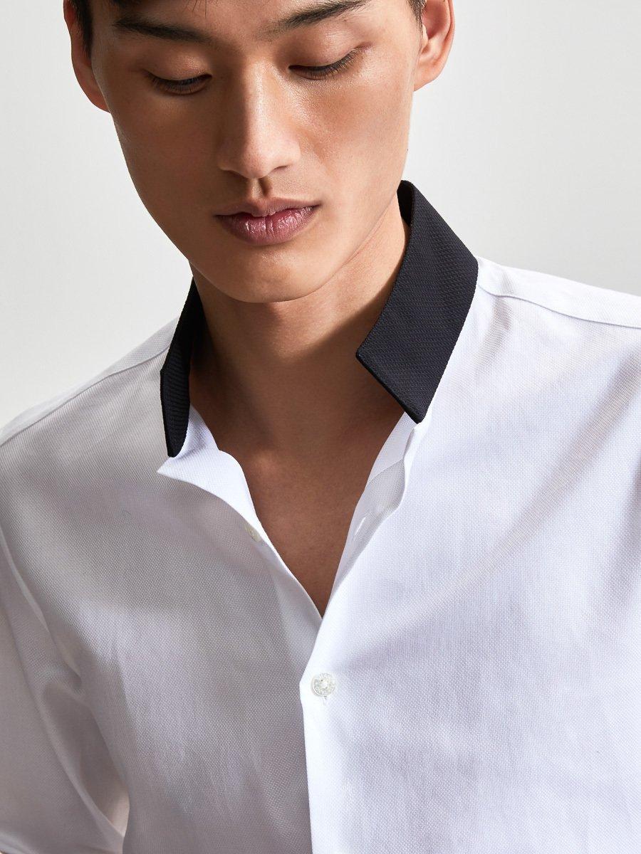 Cotton Officer Collar Tuxedo Shirt
