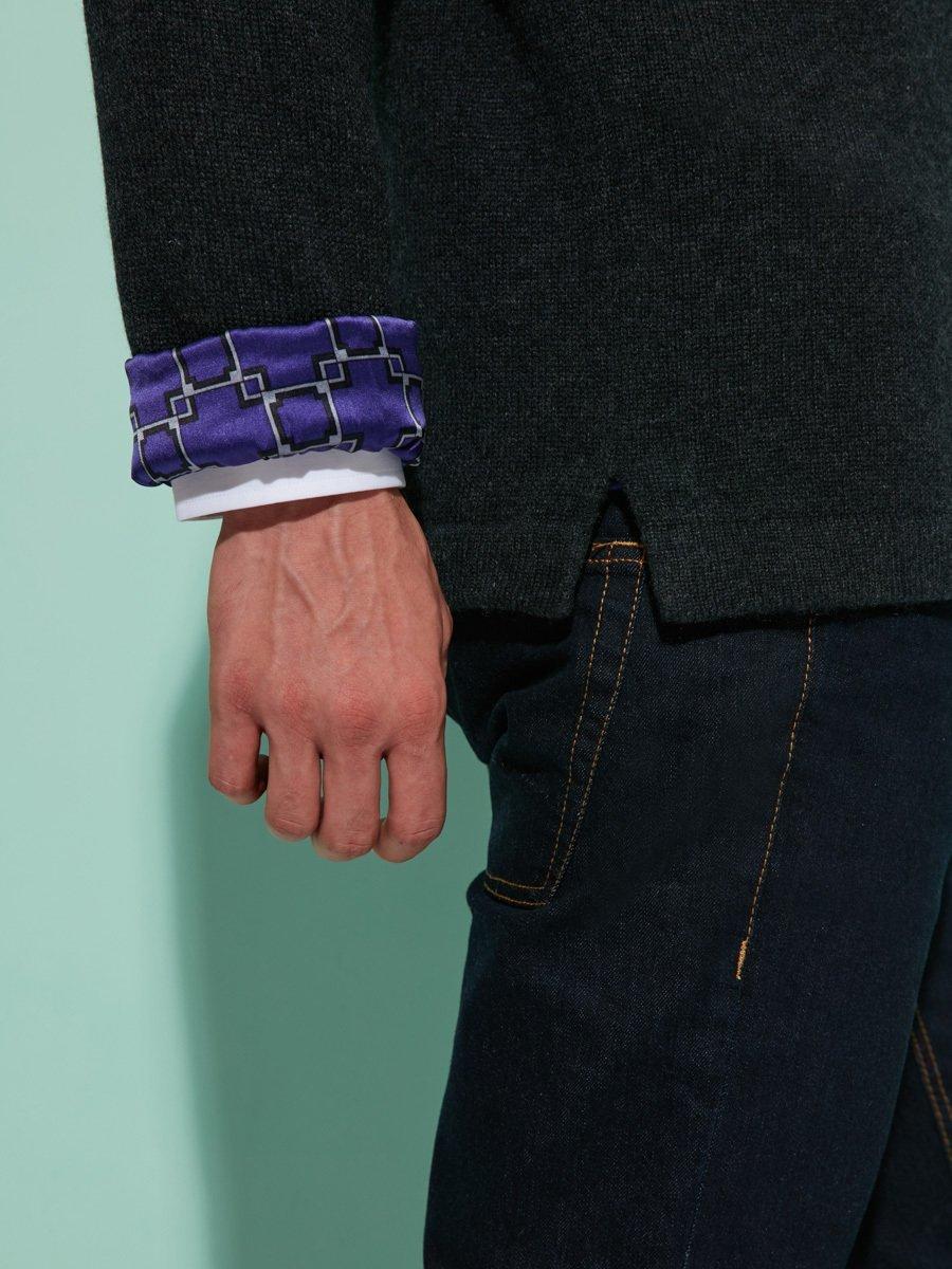 Cashmere-Silk Cardigan with Lattice Silk Lining