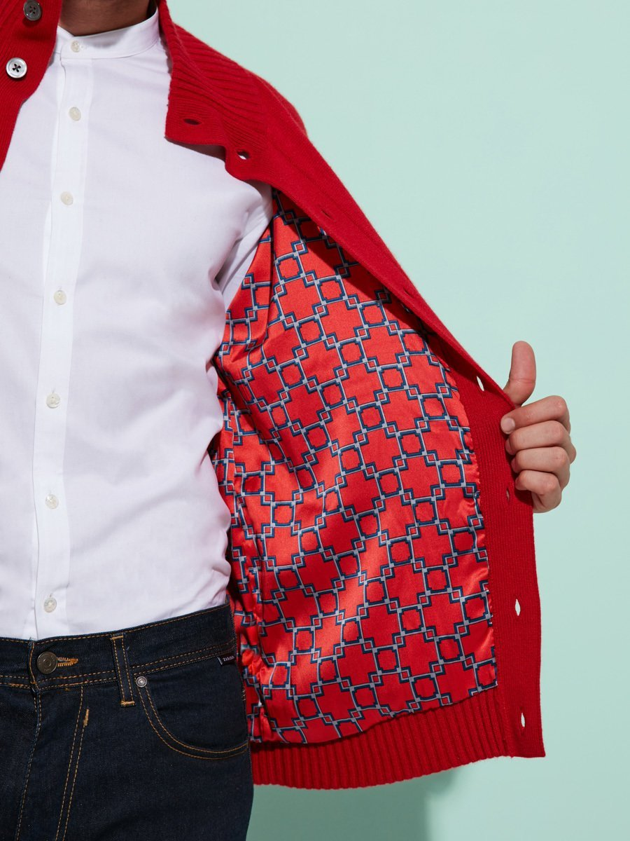 Cashmere - Silk Buttoned Cardigan with Lattice Silk Lining