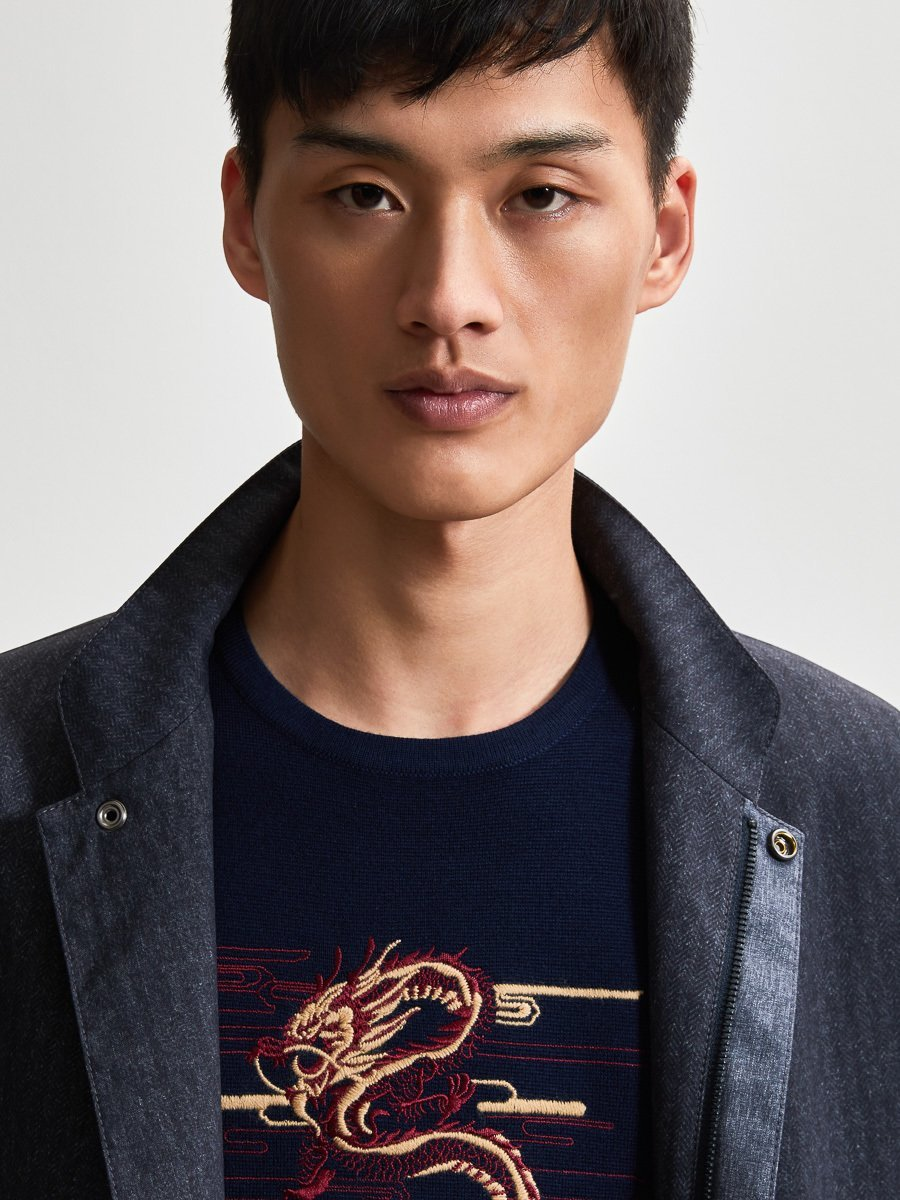 Wool Dragon Embroidery Sweater
