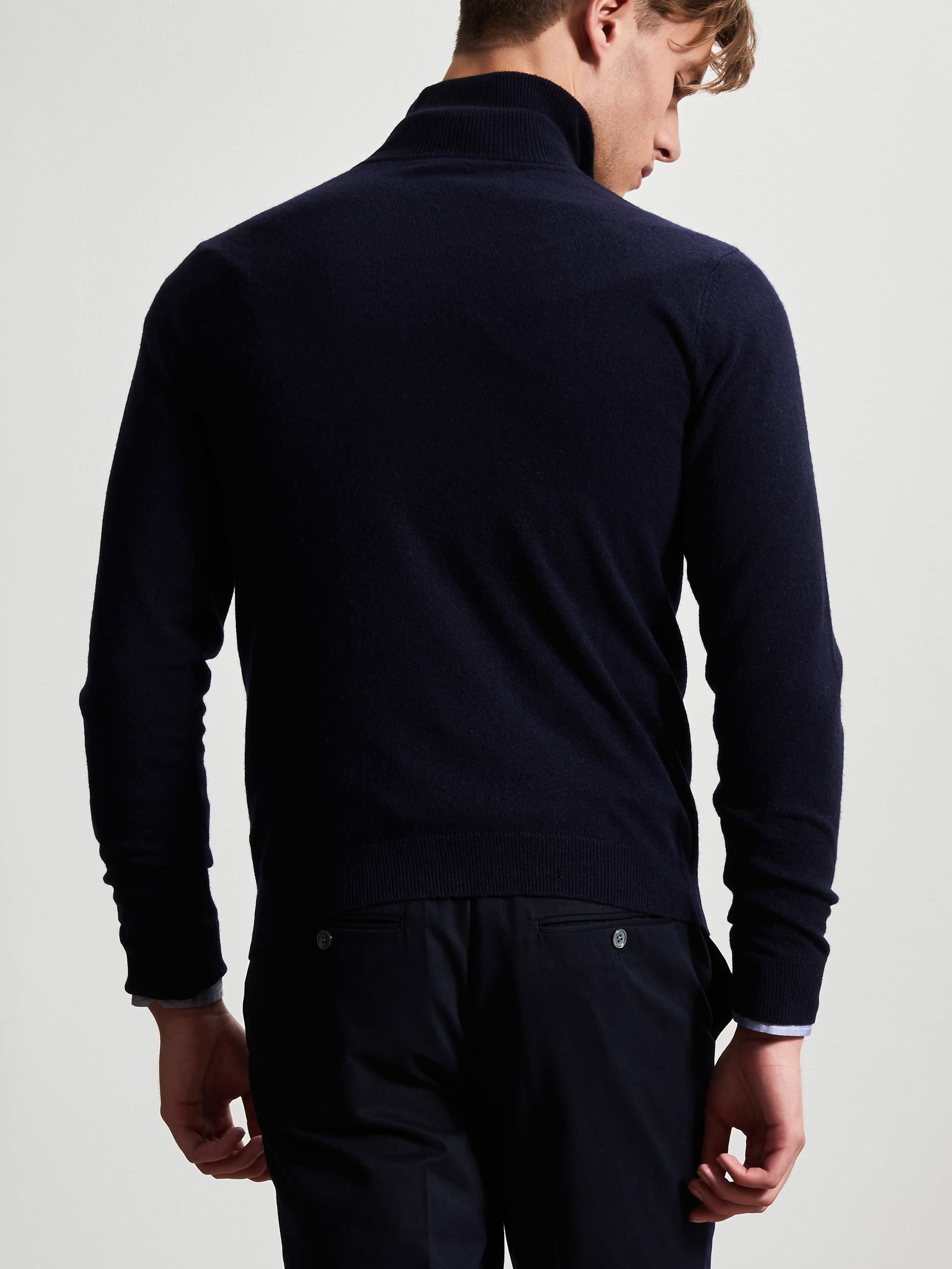 Cashmere-Silk Zip Suede Placket Sweater