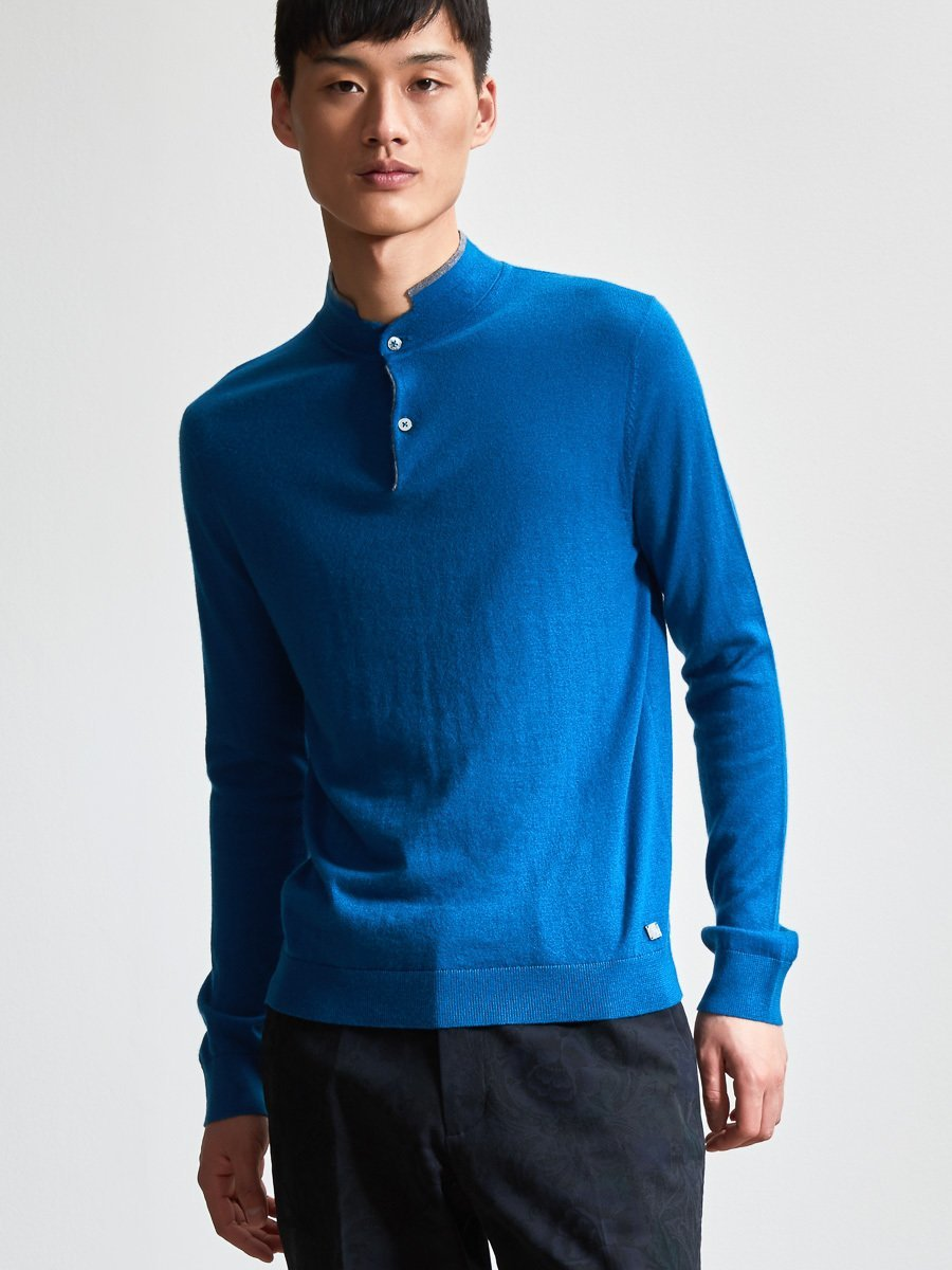 Merino Wool Sweater with Contrast Tip
