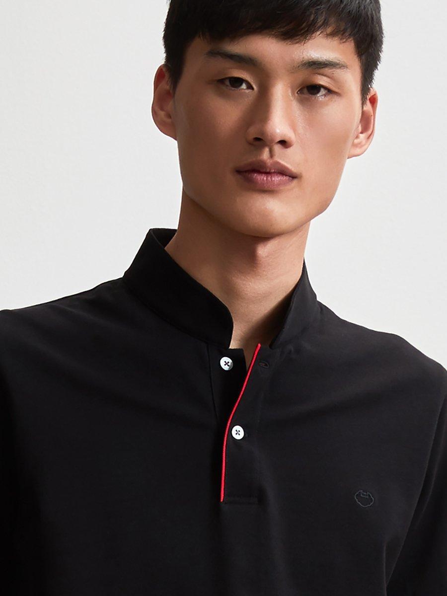 Cotton Contrast Piping Fine Piqué Polo Shirt