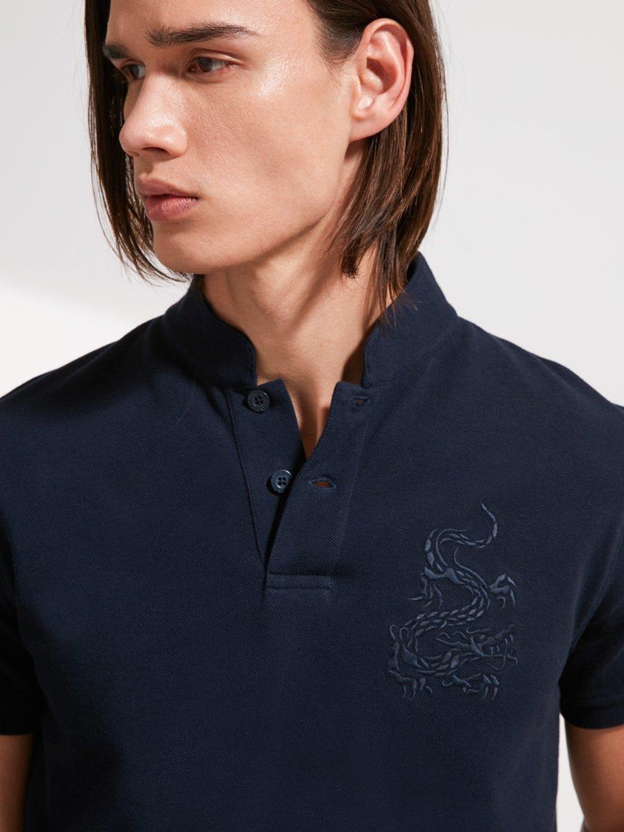 Dragon Embrodiery Fine Pique Polo Shirt