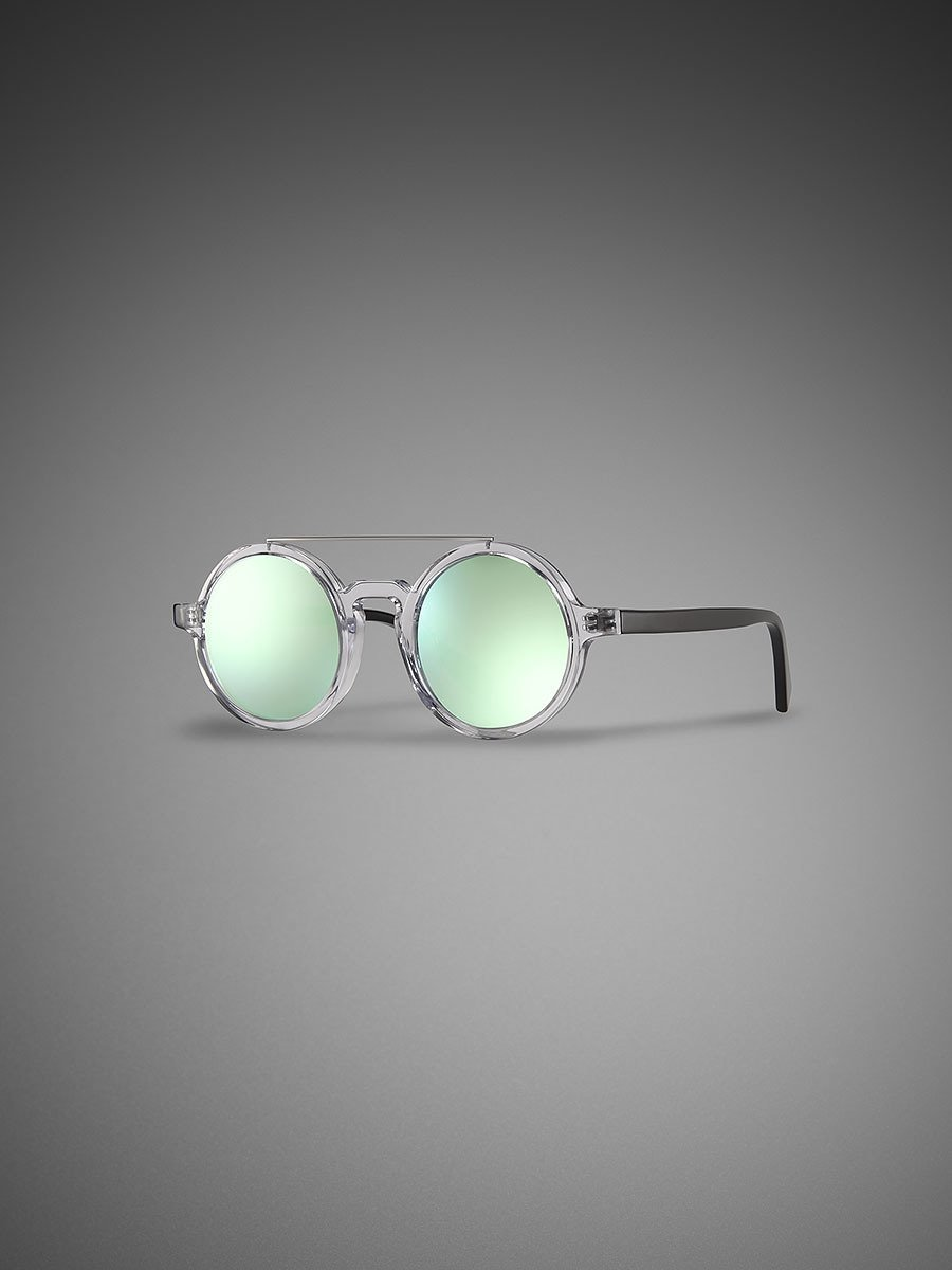 Retro Chinese Round Sunglasses Clear - Aqua