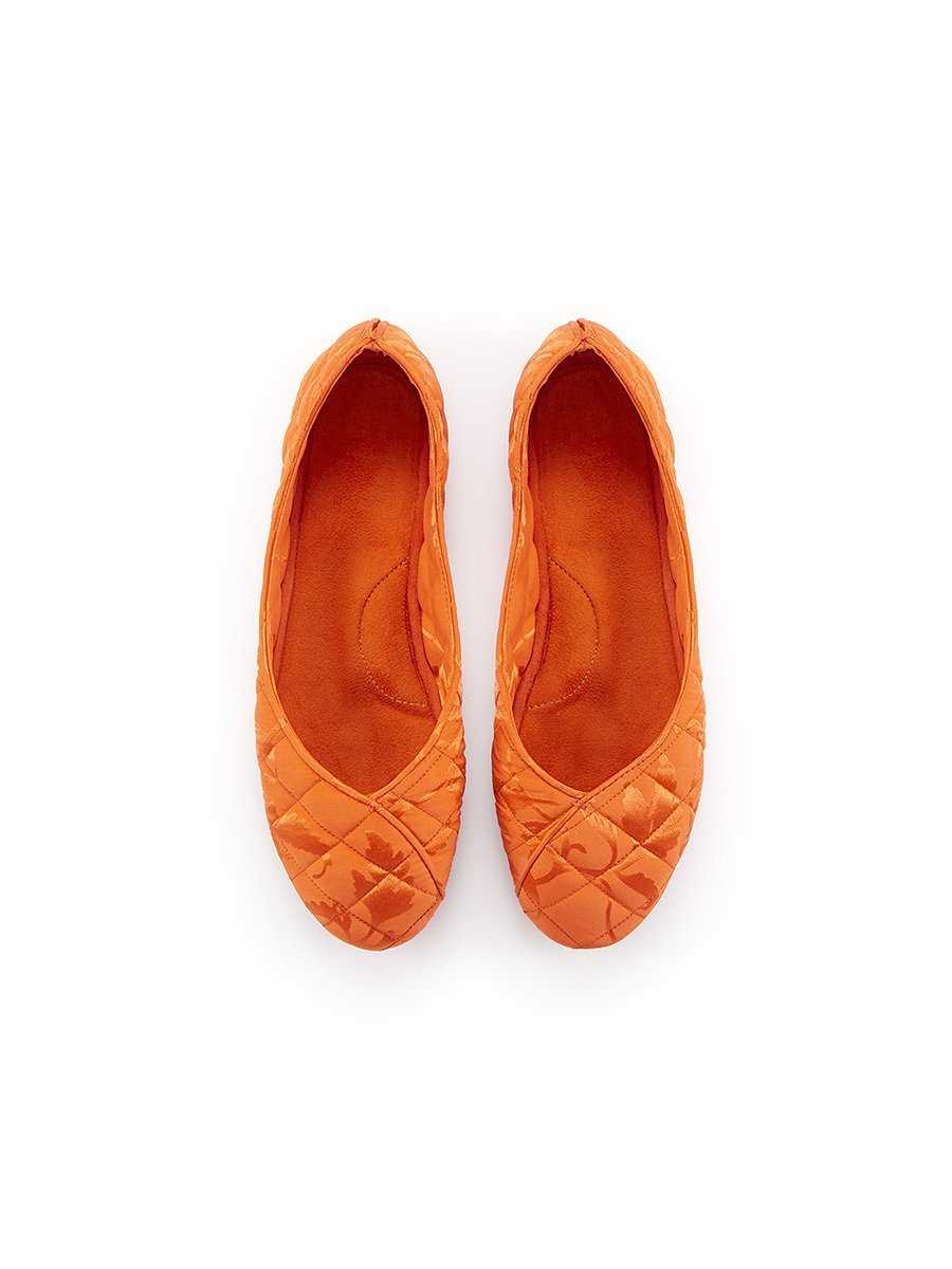 Leaves Silk Jacquard Slippers