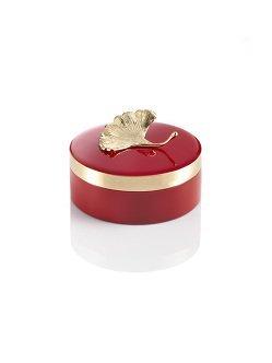 Ginkgo Enamel Round Box Medium