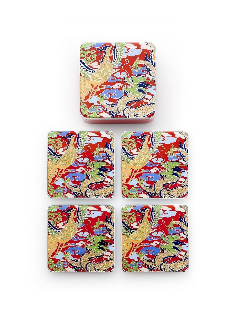 Dragon and Phoenix Enamel Coasters (Set of 4)