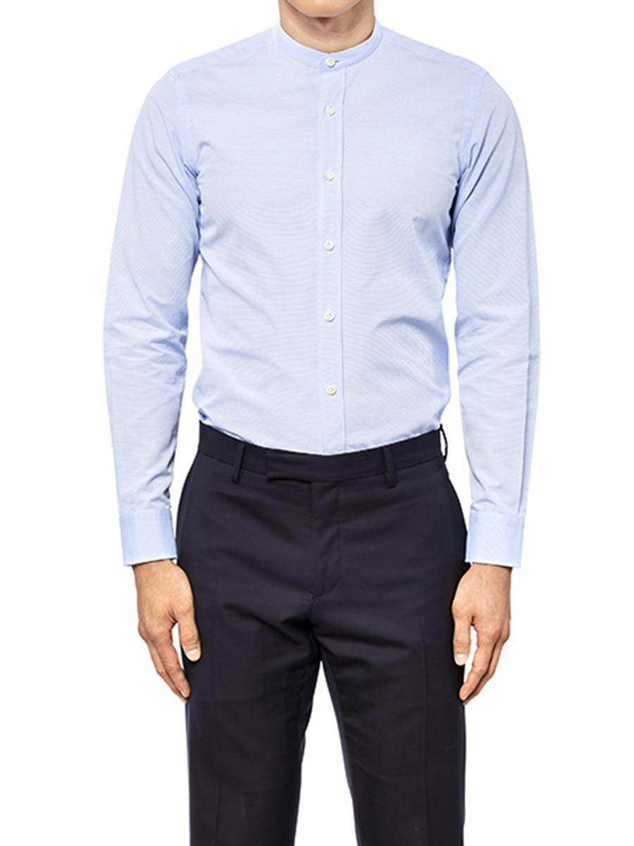 Striped Band Collar Shirt