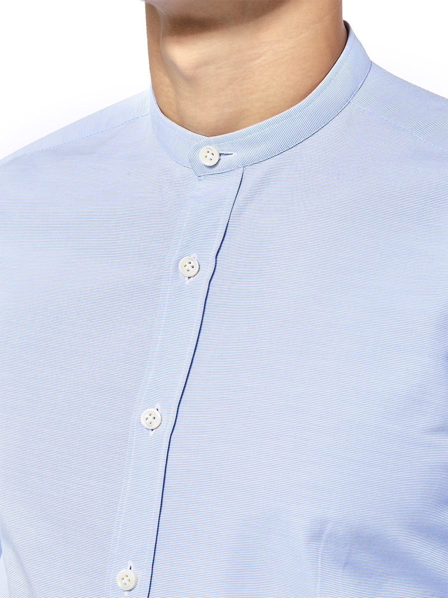 Striped Band Collar Shirt
