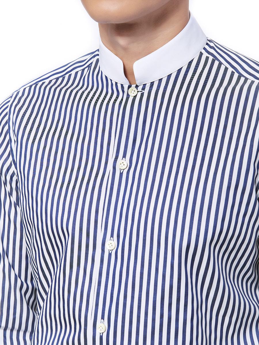 Striped Shirt With White Mandarin Collar