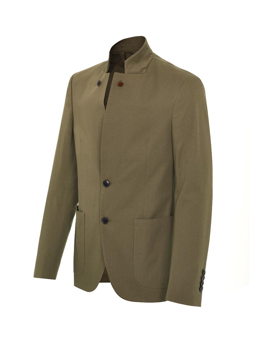 2 Buttons Mandarin Collar Blazer