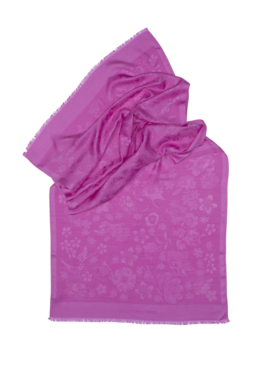 Flower Jacquard Silk Wool Scarf