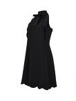 Crepe Dress With Velvet Scallops