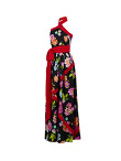 Flower Printed Long Silk Dress