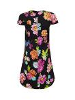 Flower Printed Silk Short Dress