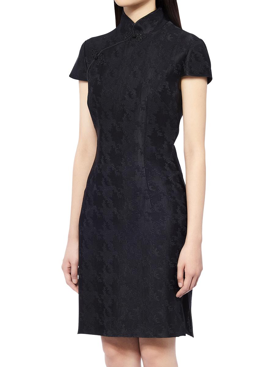 Pied De Poule Jacquard Qipao Dress