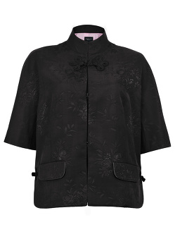 Flower Jacquard Mandarin Collar Jacket