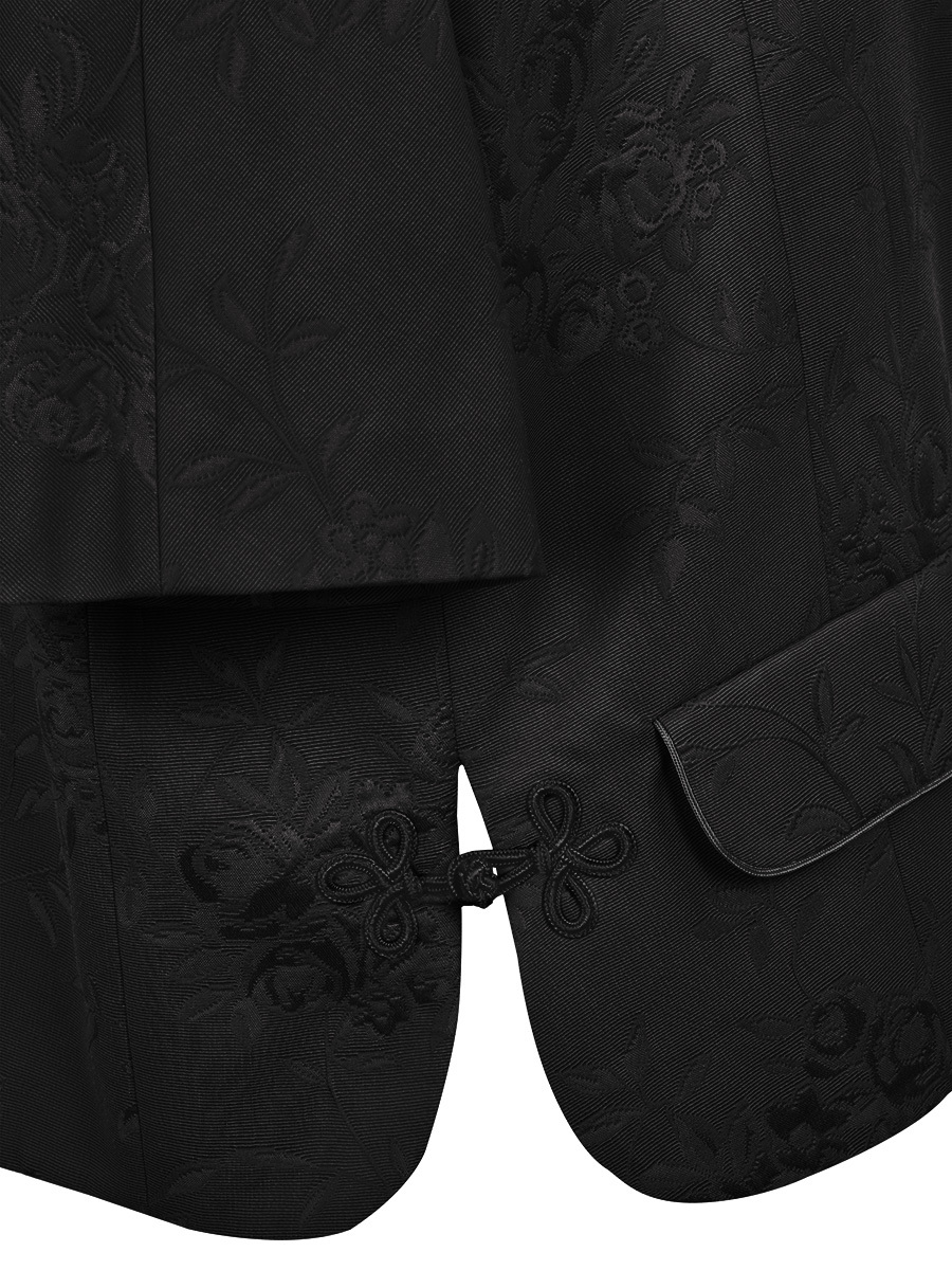 Flower Jacquard Mandarin Collar Jacket