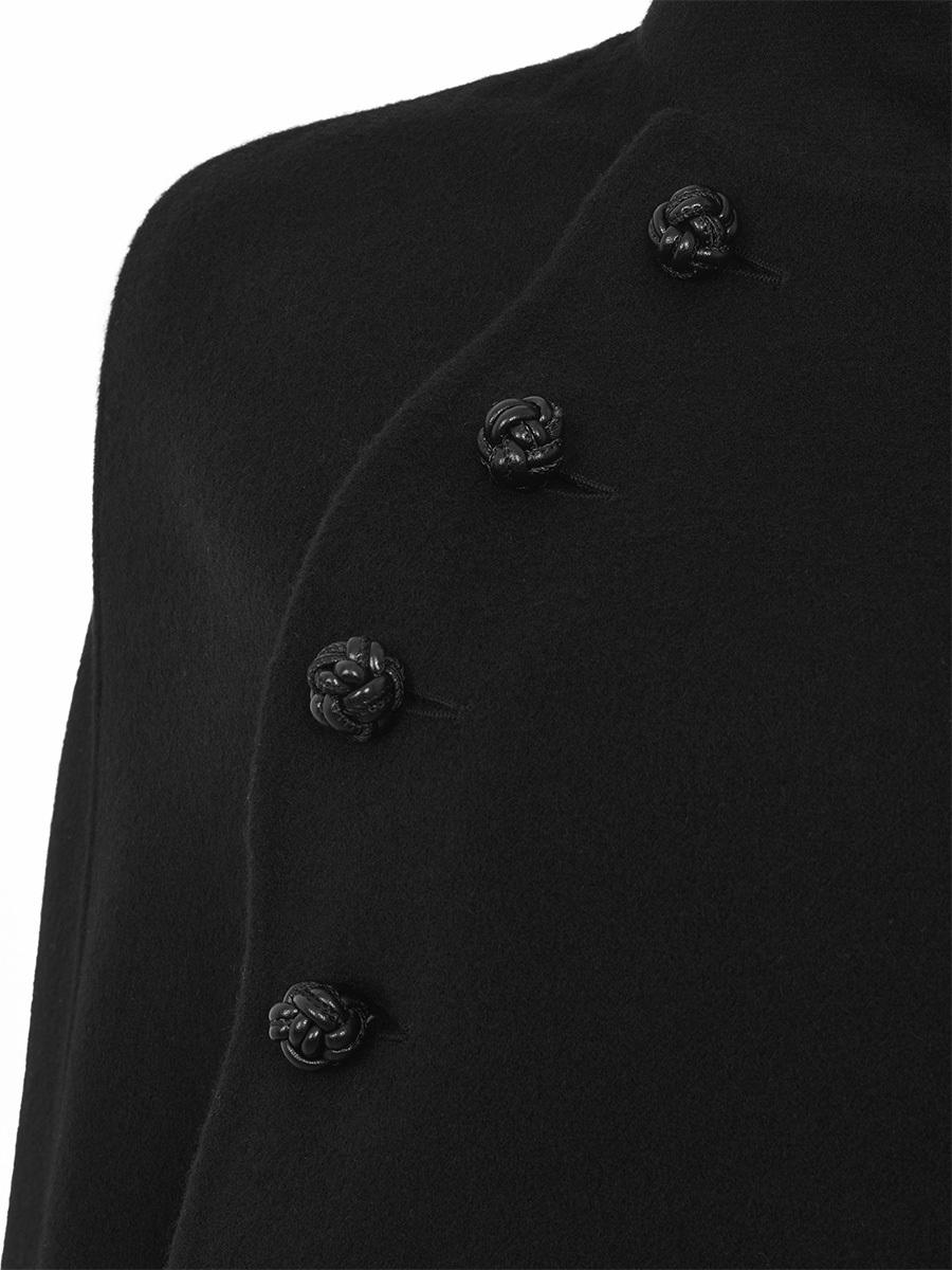 Wool Mandarin Collar Cape